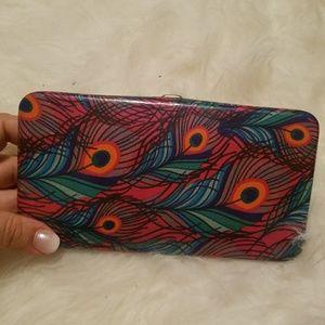 Peacock clutch wallet