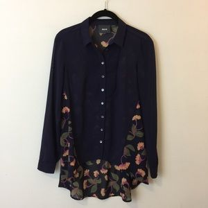 Anthropologie Tops - Maeve Anthro Navy Deco Floral Printed Blouse Top