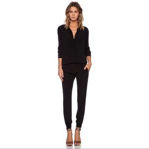 Monrow Pants - MONROW black crepe long sleeve jumpsuit