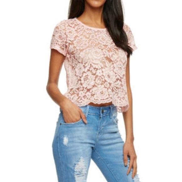 77c61c49ca273d Mauve   Blush Pink Lace Crop Top
