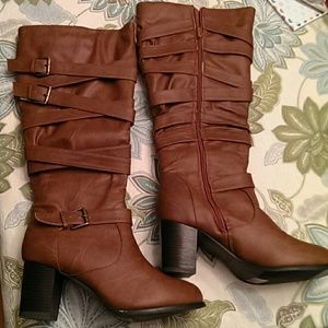 Journee Collection Shoes - Tall strappy boots