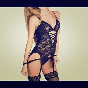 Bare Necessities Other - Black Lace Lingerie Fit With Garter-Belt