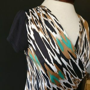 The Limited Tops - The Limited Faux Wrap Pattern Business Casual Top
