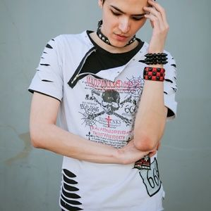 ☠Visual Kei Japan Punk Ripped Tshirt Zipper Large