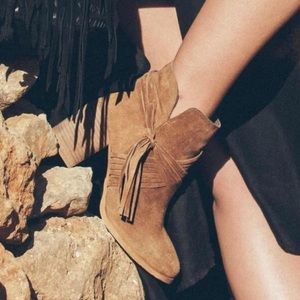 Taupe Western Criss Cross Fringe Tassel Booties