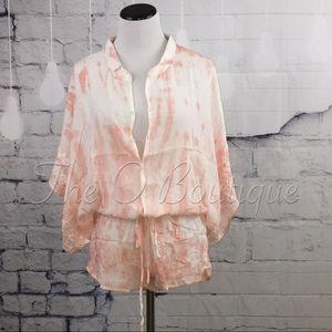 Pants - 🎉CLEARANCE🎉Pink & White Tie-Dye Plunging Romper