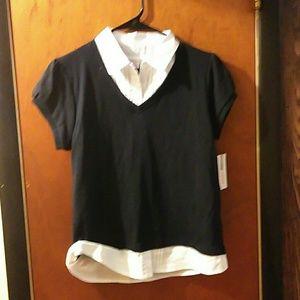 Izod Other - Izod NWT collared navy & white girls formal shirt