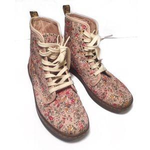 """Floral Dr Martens """"Shoreditch"""" canvas boots size 7"""