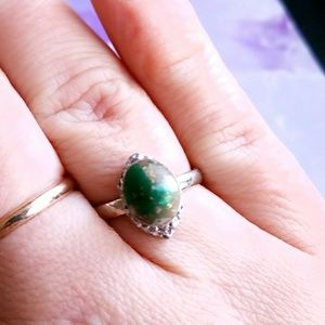 Vintage Jewelry - Vtg green and silver ring turquoise color