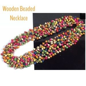 HANDMADE Jewelry - 🆕BEADED WOODEN MULTI COLOR NECKLACE