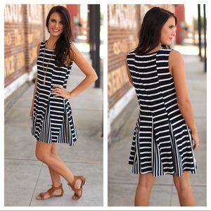 LAST (L) Navy Striped Tunic Dress