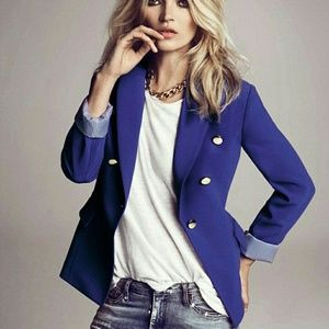 MANGO Royal Blue Blazer with Gold Buttons