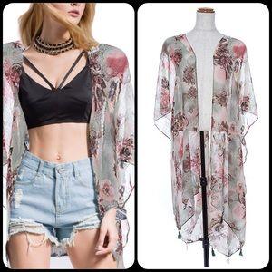 TillieCreekClothing Tops - Mint Floral Chiffon Kimono