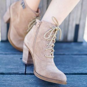 Lucky Brand Shoes - NIB Lucky Brand Suede Lace Up Heel Booties
