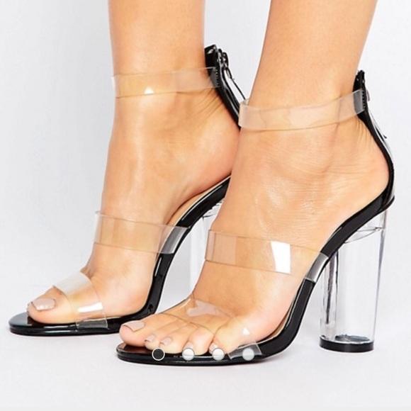 db0d26b9c0b Truffle Collection See Through Perspex Heel Sandal