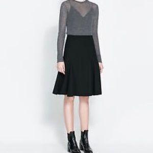 Zara Dresses & Skirts - ZARA Knit High Waist Black Pull On A Line Skirt