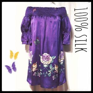 Voom by Joy Han Dresses & Skirts - 🦋Voom Purple Silk Off Shoulder Short Dress SZ M