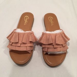 Blush frilly slip on sandals