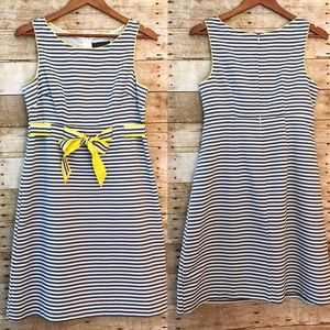 Jessica Howard Dresses & Skirts - Gray Striped Yellow Trim Ribbon Belted Dress