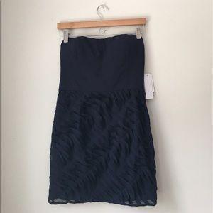 Aqua Dresses & Skirts - Aqua Wave Ruffled Navy Strapless Dress Size Medium