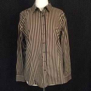 Thomas Pink Tops - Thomas Pink Tan & Black Button Top Size 14