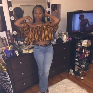 Off the shoulder African print Top.