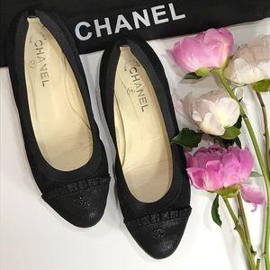 CHANEL CC Logo Ballerina Ruffle Stretch Flats