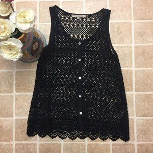 Foreign Exchange Tops - Size Medium Black Crochet Foreign Exchange Tank