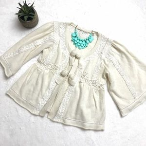 Anthropologie Sweaters - ANTHROPOLOGIE Ivory Lace Boho Dolman Cardigan