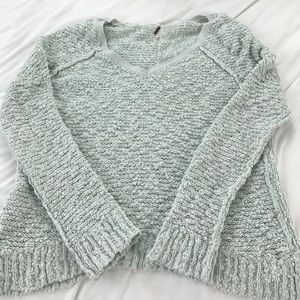 Free People Oversized Knit Sweater Light Blue