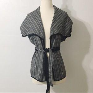 Dana Buchman Sweaters - Dana Buchman sleeveless cardigan with belt