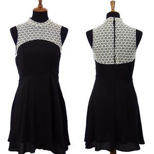 Beautiful Black & Cream Lace top Halter Dress