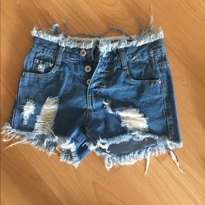 Pants - Denim fringe shorts are fringes and frayed . NWOT