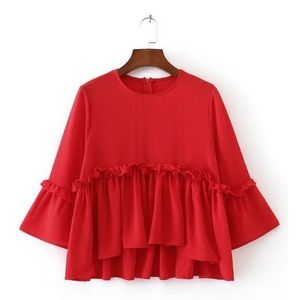 NWT Goodnight Macaroon 'Eliza' Red Peplum