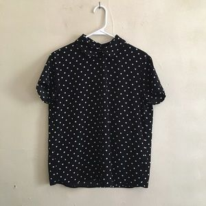 Peter Pan collared polka dot shirt