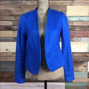 LOFT Jackets & Blazers - Loft Colbalt Blue Herringbone Linen Jacket 2