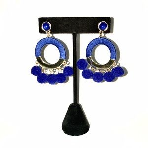 Jewelry - Blue Tribal Boho Pom Pom Dangle earrings