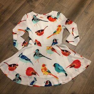 Jennabelle Dresses & Skirts - Bird Print Skater Dress!