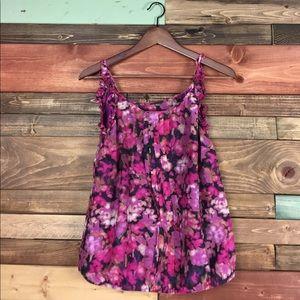 LOFT Tops - Loft Purple Silk Blend Ruffle Sleeve Blouse SP