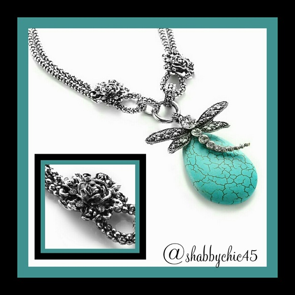 Novadab Jewelry - Boho Chic! Dragonfly Tibet Turquoise Stmt Necklace