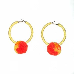 Jewelry - Yellow Orange Pom Pom Ball Hoop Earrings