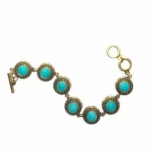Jewelry - Bronze and Blue Boho Indian Bracelet