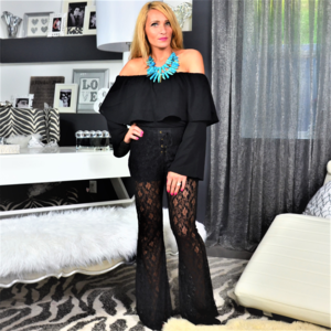 Pants - BLACK LACE BELL BOTTM PANTS