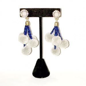 Jewelry - Gray/Blue Boho Tribal Tassel Pom Pom Bead Earrings