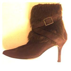 Pierre Dumas Shoes - Pierre Dumas Brown Suede Fur Boots