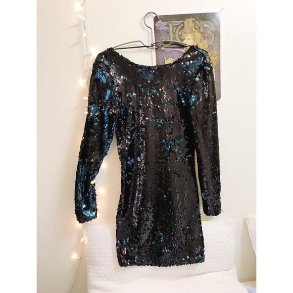 4edcd89c Zara Dresses | Black Sequin Longsleeve Dress | Poshmark