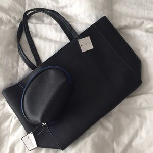 Macy's Handbags - Black tote with make up bag