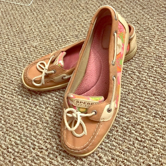 665f43f636711 Sperry boat shoes with bright flowered pattern