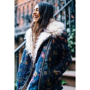 Free People Jackets & Blazers - Free People Jacquard Wool Faux Fur Floral Jacket