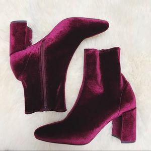 Jeffrey Campbell Shoes - Jeffrey Campbell Maroon Velvet Cienega Booties
